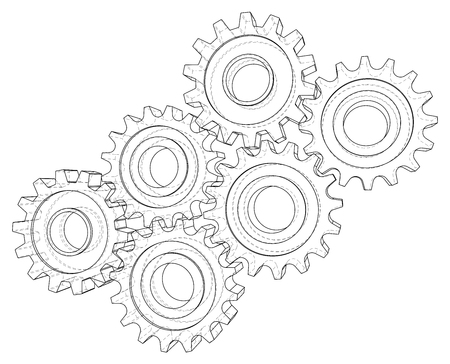 Cogs and Gears. Vector rendering of 3d. Wire-frame style. Illustration
