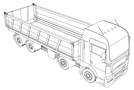 Tipper Dump Truck Isolated. Tracing illustration of 3d. Illustration