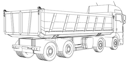 Lorry. dumper truck. Tracing illustration of 3d Иллюстрация