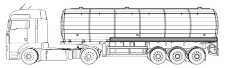 Sketch of a truck with a tank vector. Created illustration of 3d. Wire-frame. Ilustrace