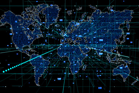 Dotted world map background. Global network connection.