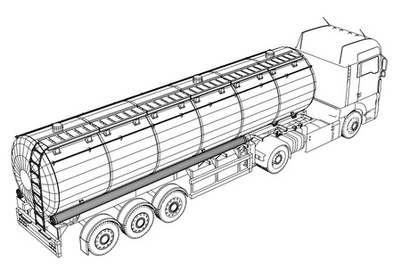 Euro Truck Cistern illustration. Vector. Tracing illustration of 3d. Çizim