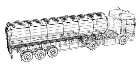 Grote tankwagen met aanhanger. Geïsoleerd op grijze achtergrond. Gemaakt illustratie van 3d