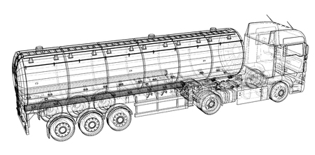 Large truck tanker with trailer. Isolated on grey background. Created illustration of 3d Illustration