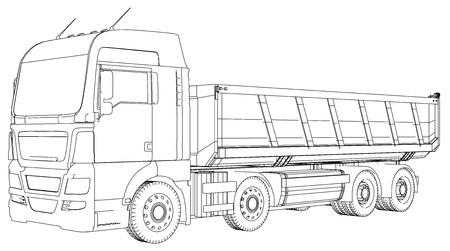 Schizzo di autocarro con cassone ribaltabile del semirimorchio isolato su priorità bassa bianca. Archivio Fotografico