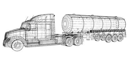Truck Cistern illustration. Vector. Tracing illustration of 3d.