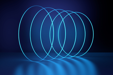 glowing circles neon lights, abstract psychedelic background, ultraviolet, vibrant colors. 3d rendering