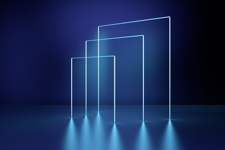 Glowing square frames, neon lights, abstract psychedelic background, ultraviolet, laser show. 3D Rendering