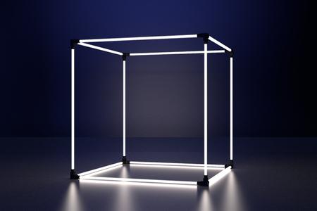 Neon glowing cube in interior room. Empty Showcase display. 3d rendering.