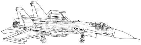 Jet fighter vector illustration. Military aircraft. Carrier-based aircraft. Modern supersonic fighter. Created illustration of 3d. Stock Illustratie