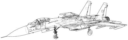 Jet fighter aircraft. Vector wire-frame concept. Created illustration of 3d Ilustração