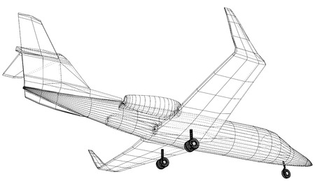 Commercial airplane. Fast Travel and transportation concept. Vector wire-frame concept. Created illustration of 3d