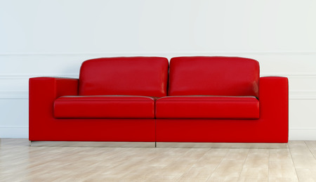 Red leather luxury sofa in white room