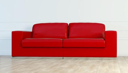 Sofá de lujo de cuero rojo en sala blanca
