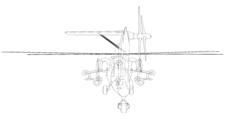 Silhouette of military helicopter. Created illustration of 3d. Vector wire-frame concept.