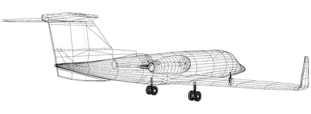 Airplane blueprint. Outline aircraft on white background. Created illustration of 3d