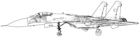 Jet fighter vector illustration. Military aircraft. Carrier-based aircraft. Modern supersonic fighter. Created illustration of 3d. Ilustração