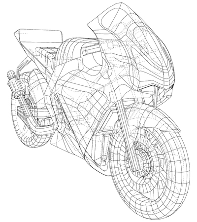 Sport motorcycle technical wire-frame. EPS10 format. Vector created of 3d. Imagens - 124890198