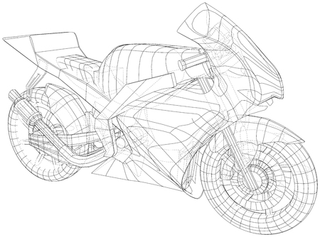Sports bike technical wire-frame. EPS10 format. Vector created of 3d. Imagens - 124890201