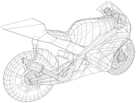 Blueprint sport bike. EPS10 format. Vector created of 3d. Imagens - 124890203