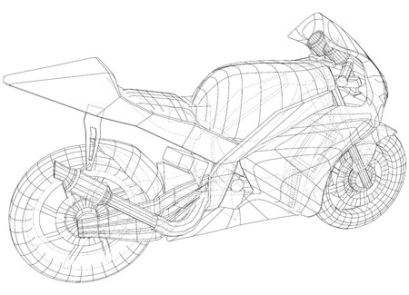 Sport motorcycle technical wire-frame. Vector illustration. Tracing illustration of 3d. Imagens - 124890206