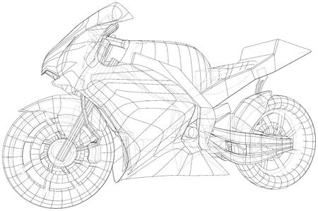 Blueprint sport bike. EPS10 format. Vector created of 3d. Imagens - 124890209
