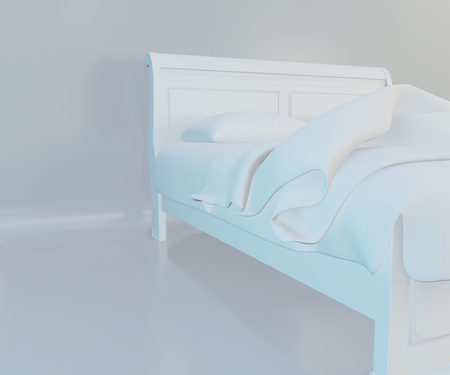 Bed with soft white pillows. 3d rendering.