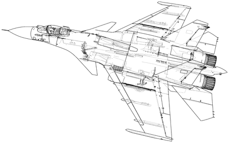 Russian jet fighter aircraft. Vector wire-frame concept. Created illustration of 3d.