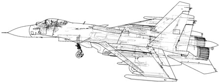 Fighter jet. Vector wireframe concept. Blue purple. Created illustration of 3d.