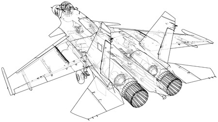 Air Jet Fighter with missiles on white background. Created illustration of 3d. Ilustração