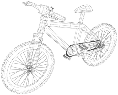 Bicycle. Vector wireframe concept. Blue purple. Created illustration of 3d