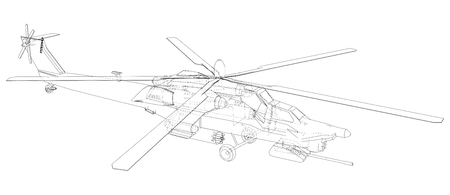 Blueprint of helicopter. Vector wireframe concept. Blue purple. Created illustration of 3d Illustration