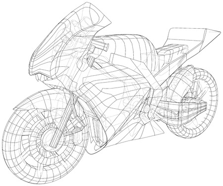 Sport motorcycle technical wire-frame. Vector illustration. Tracing illustration of 3d. Imagens - 124785369
