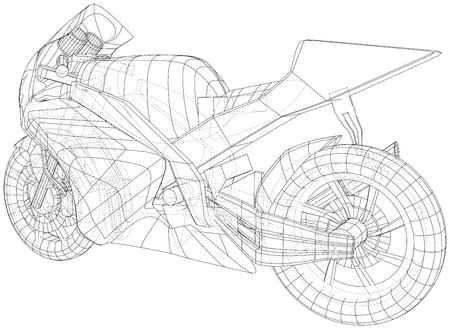 Sport motorcycle technical wire-frame. Vector illustration. Tracing illustration of 3d. Imagens - 124771118