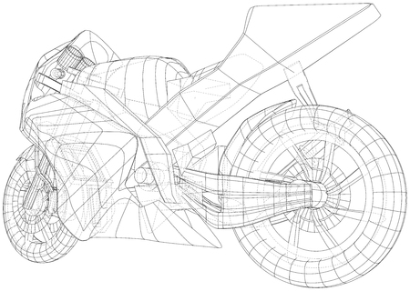 Sport motorcycle technical wire-frame. EPS10 format. Vector created of 3d.