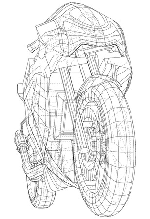 Sports bike technical wire-frame. EPS10 format. Vector created of 3d. Illustration