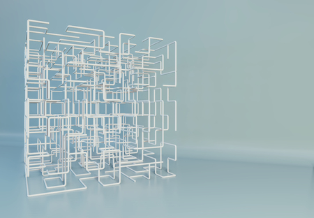 Maze boxes background. Modern technology with square mesh. Geometric abstraction lines. Cube cell. 3d rendering. Фото со стока
