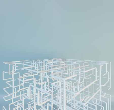 3D white Maze on a studio background. 3d rendering.