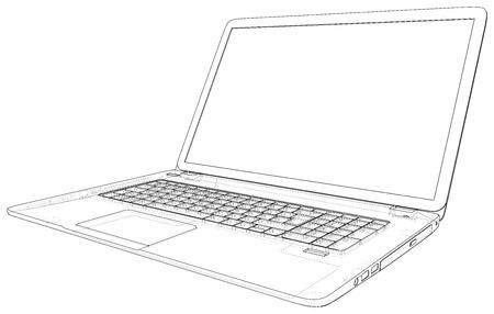 Laptop. outline computer. Vector illustration Illustration of 3d Imagens - 124771123