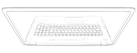 Laptop line view. Notebook. Created illustration of 3d Imagens - 124771127