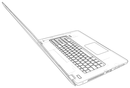 Laptop sketch. Vector created of 3d. Wire-frame line style.