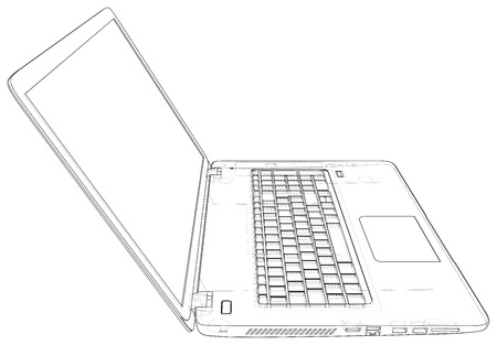 Laptop line view. Notebook. Created illustration of 3d Imagens - 124771129