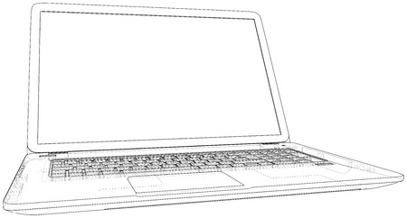 Vector outline of laptop computer. Created illustration of 3d