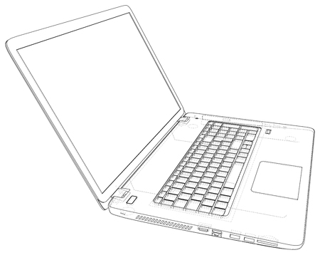 Laptop sketch. Vector created of 3d. Wire-frame line style. Imagens - 124771132