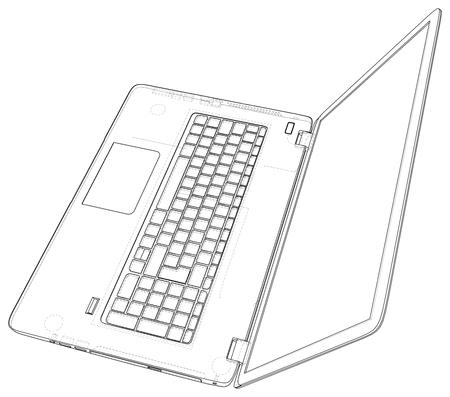 Laptop. outline computer. Vector illustration Illustration of 3d Imagens - 124771133