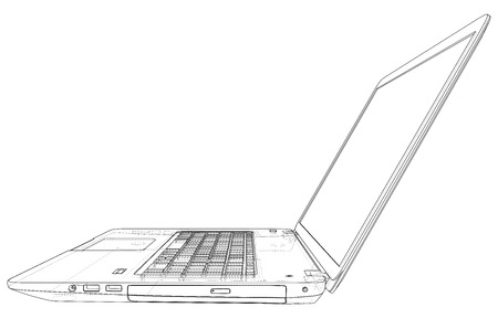 Technical Illustration with laptop drawing on the 3d blueprint.