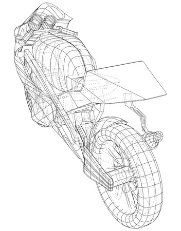 Sports bike technical wire-frame. EPS10 format. Vector created of 3d. Imagens - 124652166