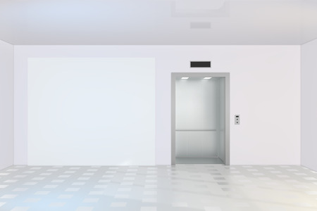 Blank billboard or poster near of empty elevator cabin. 3d rendering