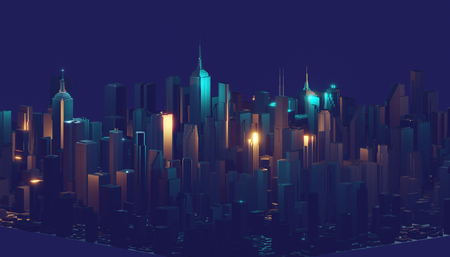 3d rendering digital abstract city. City building forms with reflections, shadows and random elements. Imagens