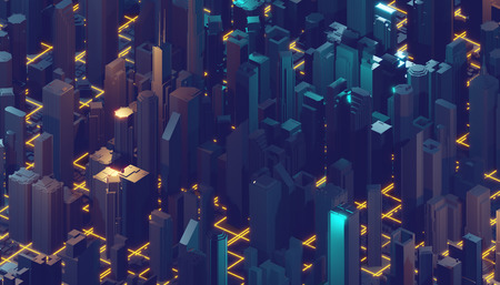 Internet of things. Futuristic technology background, cyberspace game city. 3d rendering.